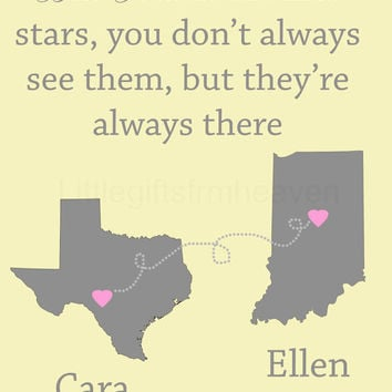 SALE Best Friends Personalized Print- best friends forever, travel moving away, personalized map, custom gift friend, bridesmaids gift