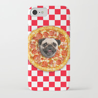 Pug Lover Pizza iPhone Case by Lostanaw