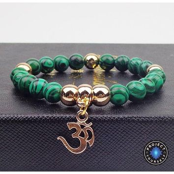 Gold Plated OM Charm with Natural Stone Beads Bracelet
