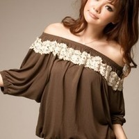 Charming Off Shoulder Laciness Arounded Coffee Blouses : Wholesaleclothing4u.com