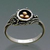 Eggs in Nest Ring Bi-metal - Bronze and Sterling Silver