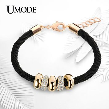 UMODE Simple Slide Beads Designer Austrian Rhinestones Gold Color Rope Charm Bracelets Chain Lobster Jewelry for Women UB0074