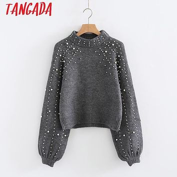 Tangada Winter Beading Sweaters Pullovers Fashion Turtleneck Sweater Women Oversized Pullover Cropped Jumper Pull Femme 3N01