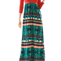 Aztec Skirt Long Sleeve Maxi Dress - CLOSEOUT