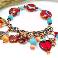 Charm Bracelet Lampwork Beads Turquoise and  Burnt Red Chain Womens OOAK