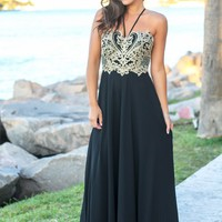 Black and Gold Maxi Dress with Embroidered Top