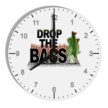 "Drop The Bass Fish 8"" Round Wall Clock with Numbers"