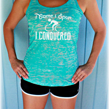 Spin Class I Came I Spun I Conquered Workout Tank Top. Cute Womens Workout Clothing. Gym Motivation. Bicycle Shirt.