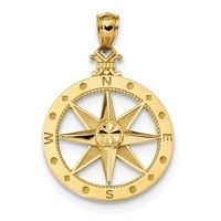 14k Yellow Gold Dia.-Cut and Satin Finish 28.55mm Compass Pendant