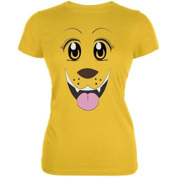 DCCKJY1 Anime Dog Face Inu Bright Yellow Juniors Soft T-Shirt