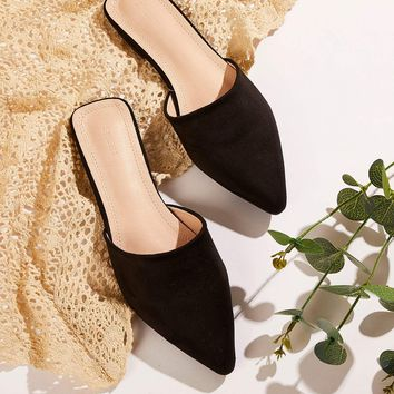 Suede Point Toe Mules