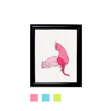 Schrodinger's Cat Pink Blue Green Print Framed Wall Hanging