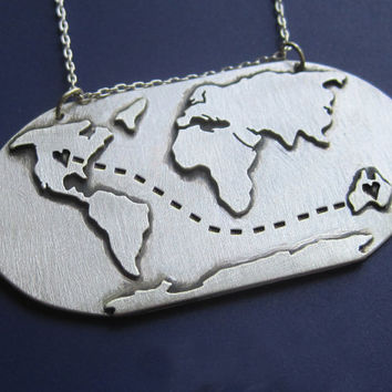 Long Distance Love Globe Map Necklace