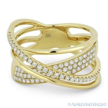 0.53 ct Round Cut Diamond Right-Hand Overlap Loop Wrap Ring in 14k Yellow Gold
