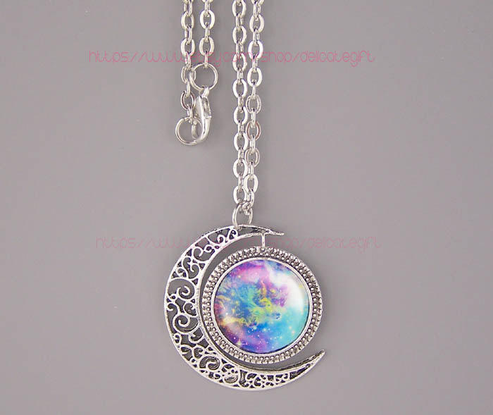Nebula Moon Necklace - Pics about space