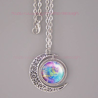 Galaxy nebula moon necklace Hollow star galactic cosmic moon necklace Galaxy Necklace Nebula necklace Fox Necklace Personalizeds Necklace