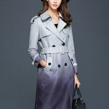 Thin Lapel Gradient Color Suede Belted Trench Coat