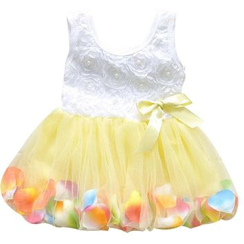 2017 Summer New Fashion Toddler Baby Dress Children Girls Princess Fairy Flowers Petal Color Sleeveless Vestidos Kids Clothing