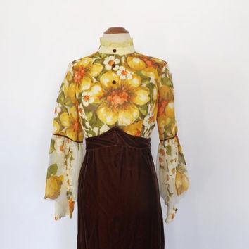 Vintage 1960s 70s Yellow Floral Brown Velvet Maxi Dress Hippie Hostess Dress Long Sleeve Gown Renaissance Queen Medieval 1970s Prom Dress