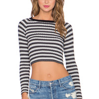 KNITZ by For Love & Lemons Back to Basics Crop Top in Black & White