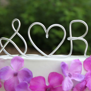 Custom Initials Heart Wire Wedding Cake Topper by deliziare