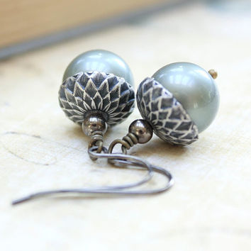 Acorn Earrings, Grey Smoke Aqua, Pearl Drop Earrings, Autumn Jewelry Beaded Dangle Earrings, Surgical Steel, Nickel Free, Nature Accessories