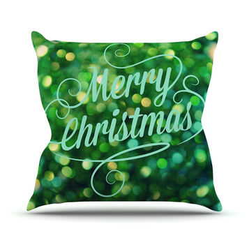 "Robin Dickinson ""Merry Christmas"" Green Throw Pillow"