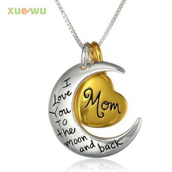 I Love You To The Moon And Back Pendant Duplex Necklace for Women Lovely Heart Jewelry Gift Mom Sliver Chain Jewelry Gift