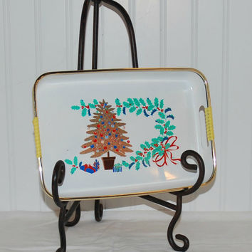 Mid-Century Tilso Small Rectangular Christmas Tree Tray (c.1950's-1960's) Cookie, Bar Condiment Tray, Gift Ideas, Home Decoration