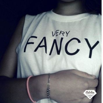 Very fancy  Letters print short sleeves tee women white shirt One-nice™
