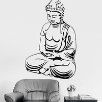 Wall Sticker Buddha Sitting Zen OM Chakra Relaxation Vinyl Decal Unique Gift (z2924)