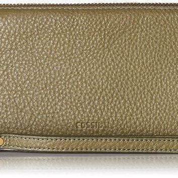 PEAPGQ6 Fossil Emma Rfid Large Zip Clutch Rosemary Wallet
