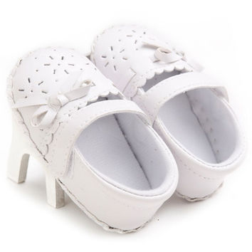 Infants Kids Soft Soled Crib Shoes Baby Girls Flat Bottom Bow Shoes Y4 SM6