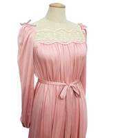 Pink Bridal Wedding Vintage 1970s Maxi Dress Ecru Lace Medium