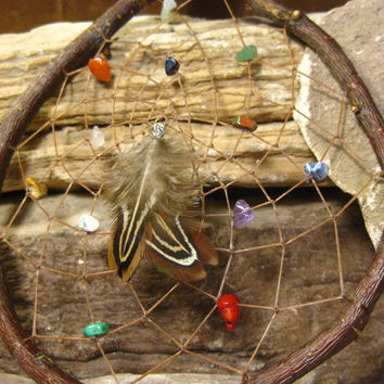 Dream catcher Native American Natural Wood Gemstone Hand Woven from The Hidden Meadow