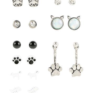 Blackheart Cat Stud Earring Set