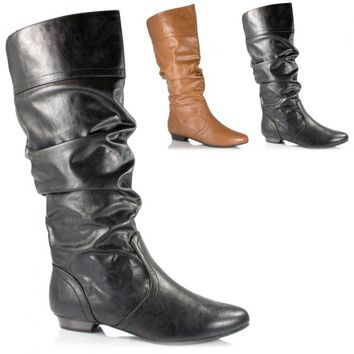 Soda Shoes Basal-S - Black Faux-Leather Mid-Calf Slouchy Boot | Shoetopia.com