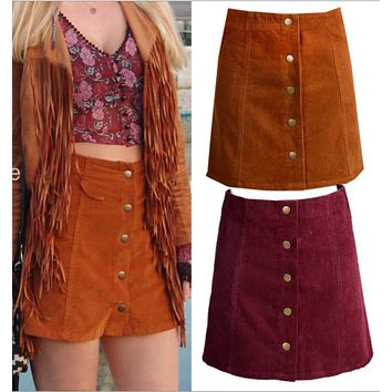 Fashion single-breasted corduroy high waist skirt skirt
