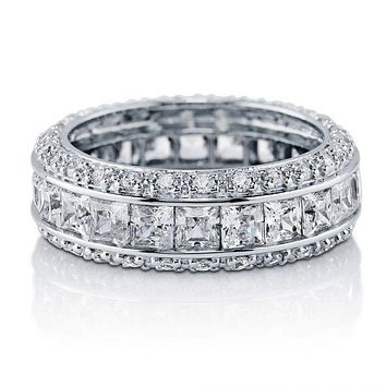 SALE 5.7TCW Princess Cut Russian Lab Diamond Wedding Band Full Eternity Ring