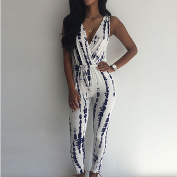 Vintage Printed jumpsuit rompers v neck