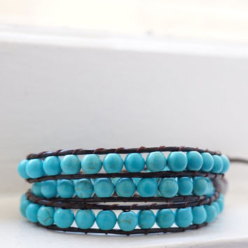 SALE OCT ONLY Big Blue Turquoise Stone Beaded Dark Brown Leather Wrap 3 Wrap Bracelet