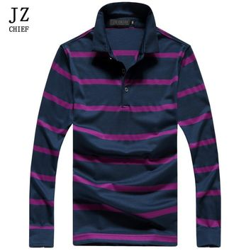 JZ CHIEF Casual Tops Tees Striped Polo Shirts For Men Dark Clothes Hit The Color Polos