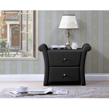 Baxton Studio Victoria Matte Black PU Leather 2-drawer Bedside Nightstand | Overstock.com Shopping - The Best Deals on Nightstands