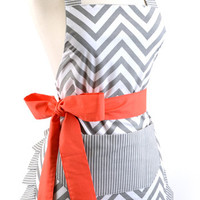 Women's Original Chevron Coral Bow Flirty Apron