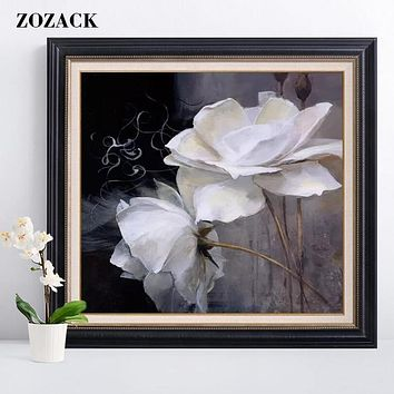White rose flowers DIY Counted chinese Cross Stitch Set 11CT Picture Printed flower Cross-stitch Kit Full Embroidery Needlewor