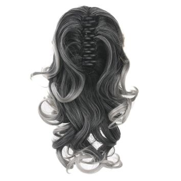 Soowee Black To Gray False Hair Claw Ponytails Synthetic Hair Pony Tail Fairy Tail Hair on Barrettes False Strands