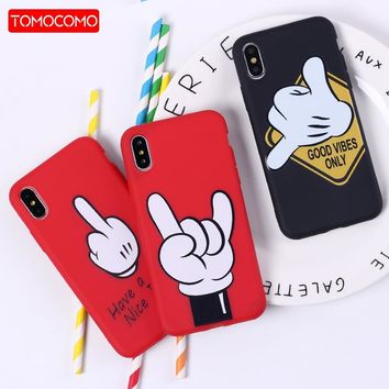 TOMOCOMO Mickey Mouse Hand Gesture Pattern Soft Silicone Phone Case Coque Fundas For iPhone5 6 6Plus 7 7Plus 8 8Plus X XS Max