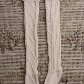 Cable-knit Knee-High Boot Socks