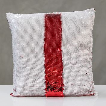 """16""""x16"""" Reversible Sequin Pillow - White/Red"""