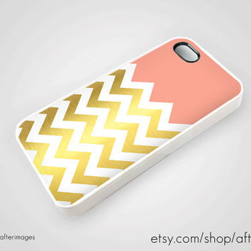 Salmon Gold Chevron iPhone 5 4 4S Case iPhone 4 New by afterimages